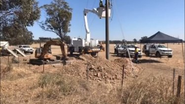 Crews working near Nagambie to restore power to the township.
