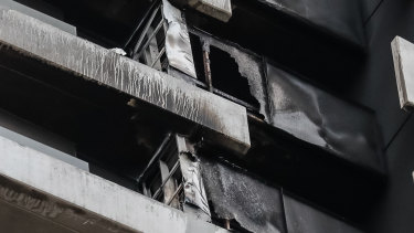 Cladding on a building in Spencer Street, Melbourne caught fire in November.
