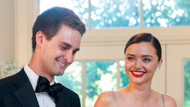 """""""There is no grey area"""": Evan Spiegel with his wife Miranda Kerr."""