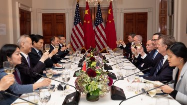 Secretary Steven Mnuchinand US Trade rep Robert Lighthizerwith Chinese Vice Premier Liu He and the Chinese delegation at a working dinner during the 13th round of trade negotiations.