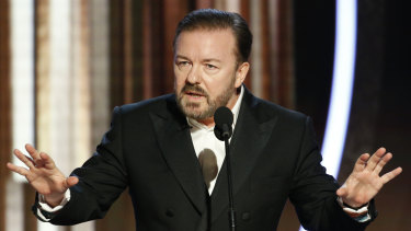 """""""If you win, come up, accept your little award, thank your agent and your god, and ... """" Ricky Gervais opens the 77th annual Golden Globe Awards."""