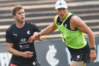 Marc Murphy and Patrick Cripps train for Carlton on Monday.