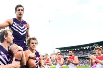 Matthew Pavlich got the armchair treatment for his 350th game.
