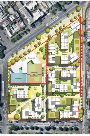 The concept plan for the former North Fitzroy gasworks site released on Friday.