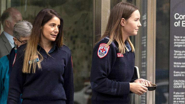 Paramedic Chenaye Bentley (right) outside court.