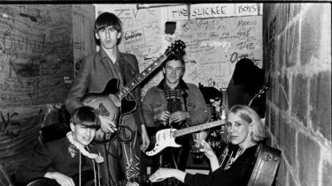 The young Go-Betweens, from left, Robert Vickers, Robert Forster, Grant McLennan and Lindy Morrison.