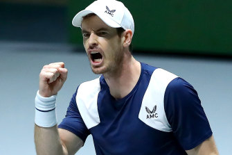 Andy Murray celebrates victory against Tallon Griekspoor of the Netherlands.