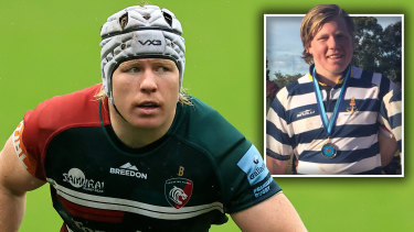 NicDolly playing for Leicester Tigers and, inset, for Eastwood in Sydney.