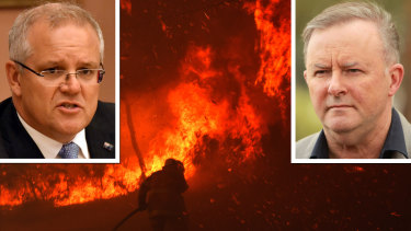 Bushfires in NSW and, inset, Scott Morrison and Anthony Albanese.