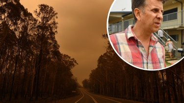 Andrew Constance a was personally caught up in the Black Summer bushfires. composite withThe Princes Highway between the towns of Bodalla and Mogo in January 2020.