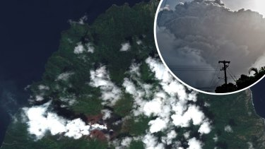 Composite - This image provided by Maxar Technologies shows La Soufriere volcano on the Caribbean island of St. Vincent, Thursday, April 8, 2021, the day before it erupted. (Satellite image ©2021 Maxar Technologies via AP) Ash rises into the air as La Soufriere volcano erupts on the eastern Caribbean island of St. Vincent, seen from Chateaubelair, Friday, April 9, 2021. (AP Photo/Kepa Diez Ara)