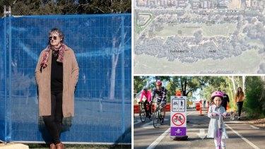 COmposite - Parramatta councillor Patricia Prociv voted to oppose a plan to cut down 60 trees in the park to build car parking at Parramatta Park. Thursday 17th June 2021 SMH photo Louie Douvis .