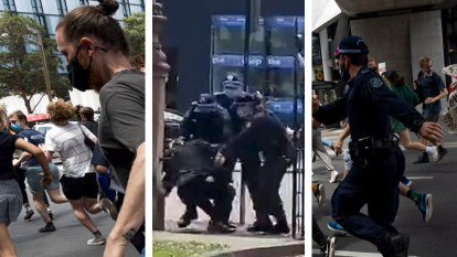 Police push law professor to the ground during Sydney University protest