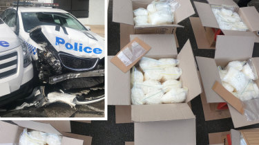 A man has been charged after more than 270kg of methylamphetamine was located in a van that crashed into parked police cars.