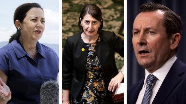Composite: Queensland, WA Premiers hit back at Berejiklian's claims over hotel quarantine expenses.