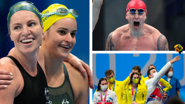 Emily Seebohm, Kaylee McKeown, Adam Peaty and mixed relay celebrations.