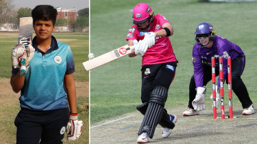 Shafali Verma as a 14-year-old in India, and with the Sixers in the WBBL this season.