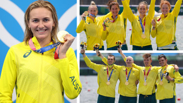 Three gold in one day ... AriarneTitmus, women's four and men's four rowing gold medals on July 28 2021.