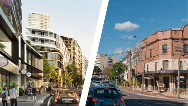 Composite - Artist impressions of the Edgecliff Commercial Centre Strategy. Image supplied (Andrew Taylor) New South Head Road, shot from Rushcutters Bay Park and looking towards Edgecliff Station. Photographed Friday 18th June 2021. Photograph by James Brickwood. SMH NEWS 210618