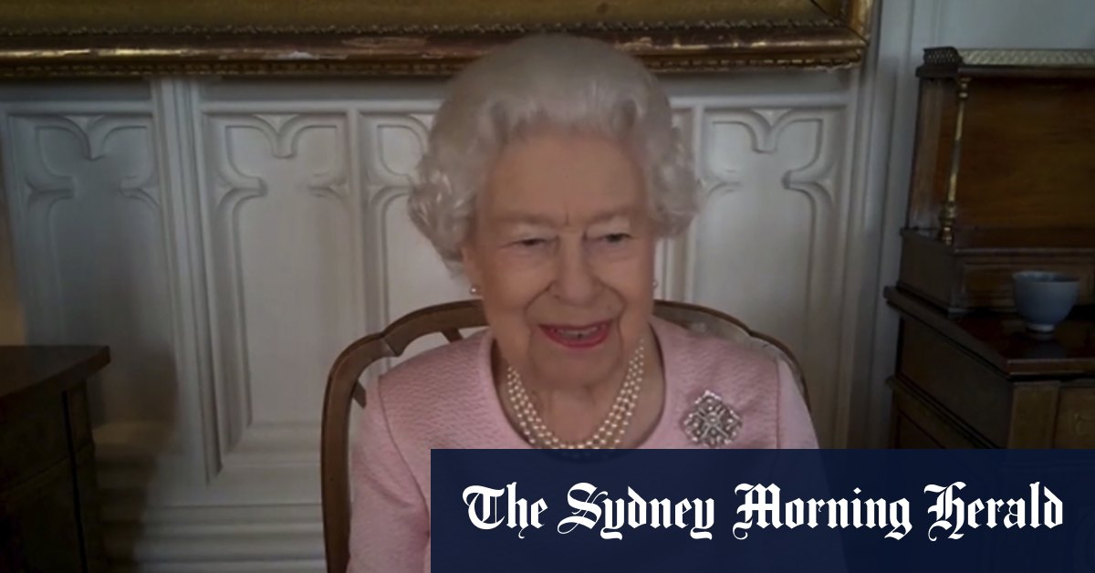 'Gracious!': The Queen pokes fun at herself during first Zoom call to Australia