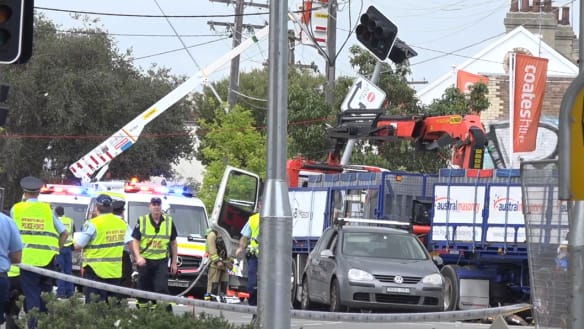 The truck hit pedestrians, a power pole, a bus stop and a building.
