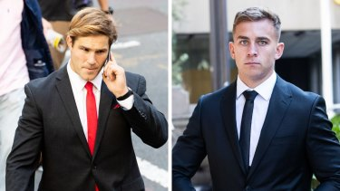 COmposite - NRL player Jack de Belin is facing a retrial over allegations he and Callan Sinclair raped a teenager in 2018.. 19th April 2021. Photo: Edwina Pickles / SMH. Callan Sinclair at the Downing Centre. NRL player Jack de Belin is facing a retrial over allegations he and Callan Sinclair raped a teenager in 2018.. 19th April 2021. Photo: Edwina Pickles / SMH