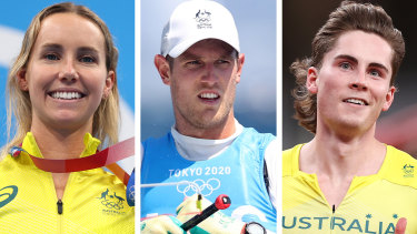 Emma McKeon, Matt Wearn and Rohan Browning.