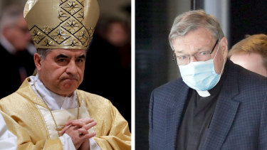 Cardinal Giovanni Angelo Becciu, left, and Cardinal George Pell.