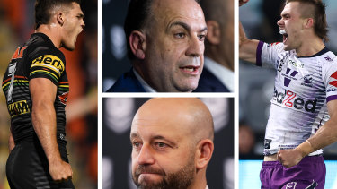 Clockwise from left: Nathan Cleary, Peter V'landys, Todd Greenberg and Ryan Papenhuyzen.