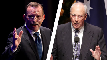 Former prime ministers Tony Abbott and Paul Keating.