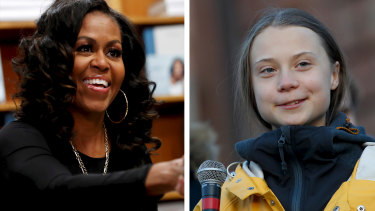 Michelle Obama, left, has offered some advice to Greta Thunberg.
