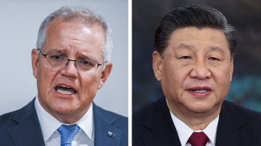 Prime Minister Scott Morrison and Chinese President Xi Jinping.