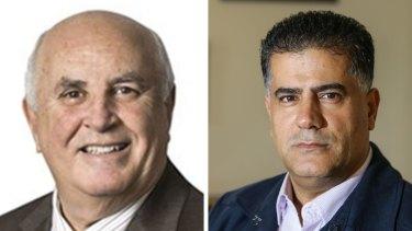 Liberal councillor Con Hindi, right, and Labor councillor Vince Badalati.