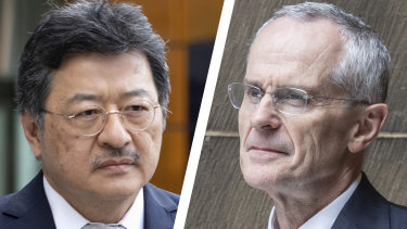 Competition battle ...TPG's David Teoh and ACCC chief Rod Sims
