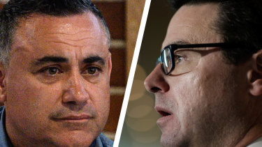 At loggerheads: NSW Deputy Premier John Barilaro and  federal Water Resources Minister David Littleproud​.