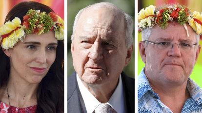 Alan Jones tells Scott Morrison to 'shove a sock down throat' of Jacinda Ardern