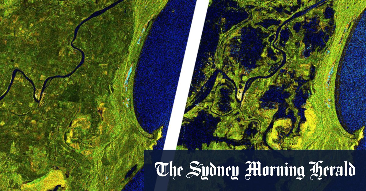 Before and after satellite imagery shows early impact of NSW floods – Sydney Morning Herald