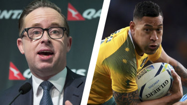 "Qantas CEO Alan Joyce has dismissed ""outrageous"" claims that Qantas was responsible for the sacking of Israel Folau by Rugby Australia, but he supported the governing body's course of action."