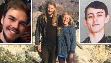 From top left: Missing man Kam McLeod, Australian Lucas Fowler with girlfriend Chynna Deese and missing man Bryer Schmegelsky.