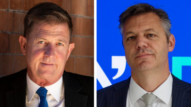 Outgoing Seven West Media chief executive Tim Worner, left, and incoming head James Warburton.