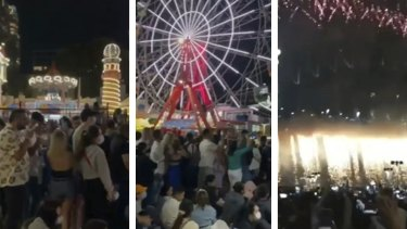 Crowds at New Year's Eve event at Luna Park.
