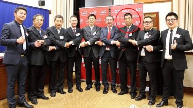 Edward Zhang with Premier Mark McGowan and Labor MP Pierre Yang at the launch of the Australian Chinese Labor Association in 2015.