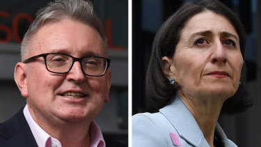 Don Harwin, left, resigned after photos showed he visited his holiday home on the Central Coast. The scandal played into a perception fanned by critics of  the Premier, Gladys Berejiklian, that she is weak.