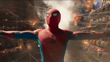 Tom Holland as Spider-Man in Spider-Man: Homecoming.
