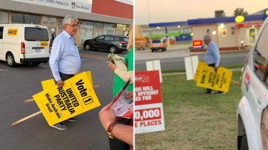 These photos have been used by Labor supporters on social media to suggest Aged Care Minister Ken Wyatt has been assisting Clive Palmer's United Australia Party.