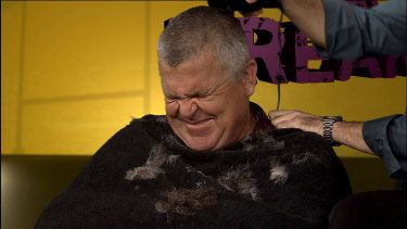 Greg Growden getting his head shaved on Rugby Heaven 'The Breakdown' on April 22, 2010.