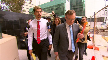 Sydney Swans player Elijah Taylor outside Perth Magistrates Court on Wednesday.