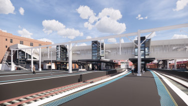 An artist's impression ofthe new footbridge and lifts at the southern end of Redfern station.