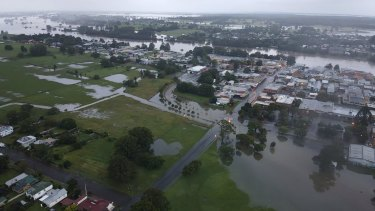 Aerial view of a flooded Kempsey this week.