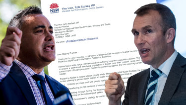 Planning Minister Rob Stokes (right) offered extensive concessions to Nationals leader and Deputy Premier John Barilaro in a letter sent last month. Mr Stokes's office said it had yet to receive a response.
